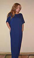 Платье макси темно синего цвета гипюр спина, фото 1