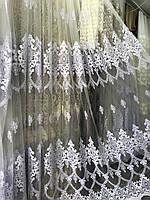 Тюль на сетке фатине с красивым низом турция. №2666 Цвет: белый