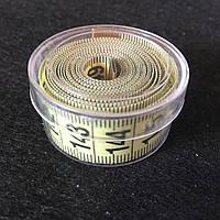 Сантиметр Швейный (в пластиковой коробочке) 1,5м. Желтый