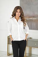 Женская белая блузка с карманом, рукав поднимается патиком до 3/4.,разм.42,44,46, фото 1