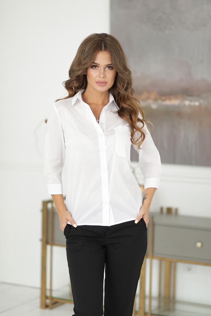 Женская белая блузка с карманом, рукав поднимается патиком до 3/4.,разм.42,44,46