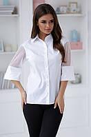 Женская белая блузка,рукава декорированы бусинами разм.42,44,46, фото 1