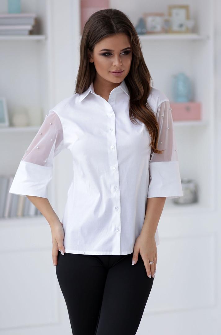 Женская белая блузка,рукава декорированы бусинами разм.42,44,46