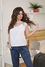 Женская белая блузка без рукав с ажурной сеткой и кружевом разм.42,44,46