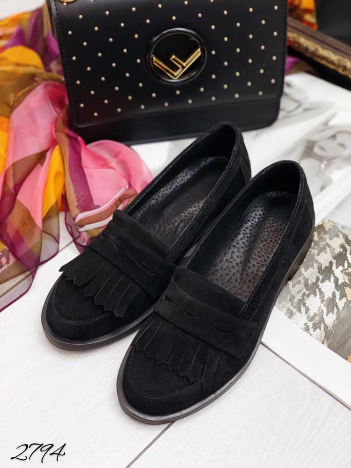 Лоферы  чёрный замш с бахромой натуральный замш цвет: черный в наличии и под заказ