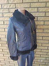Куртка женская из экокожи, на меху внутри, с меховым воротником LANMAS, фото 2