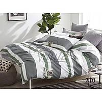 Семейное постельное белье в серую полоску из сатина Viluta