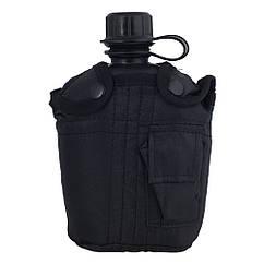 Милтек США фляга 1,0л с чехлом Black