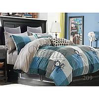 Полуторный комплект постельного белья из сатина Viluta в голубом цвете