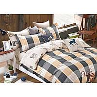 """Двуспальный комплект постельного белья из сатина в классическом стиле Viluta """"Квадрат"""""""