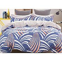 Светло синий комплект евро постельного белья из сатина Viluta с абстракцией