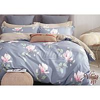 Двуспальное постельное белье из сатина с цветами Viluta