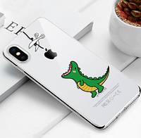 """Чехол TPU прозрачный, мягкий с изображением """"Динозаврик"""" iPhone 7 Plus/8 Plus"""