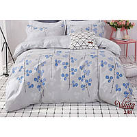 Евро постельное белье из сатина Viluta в сером цвете с синим рисунком