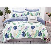 Евро комплект постельного белья из сатина Viluta с пальмовыми листьями