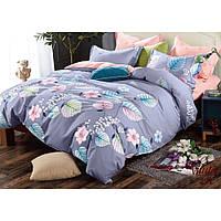 Светло серый евро комплект постельного белья из сатина Viluta с цветочным рисунком