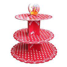 SALE!Стенд трёхъярусный картонный круглый для капкейков красного цвета с горошком (шт)