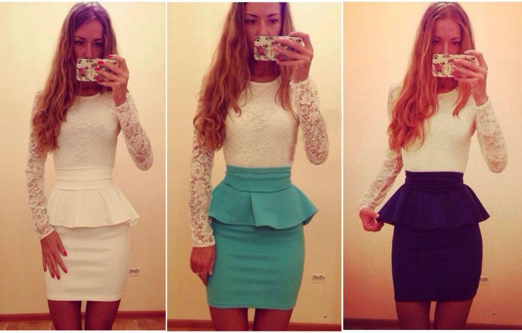 Женское модное платье с баской - 3 цвета
