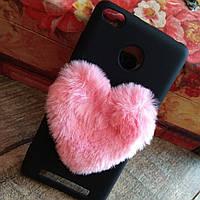 Гламурный чехол с мехом для телефона Xiaomi Redmi 3S 3 pro серце на сяоми редми 3с про плюс TPU силиконовый