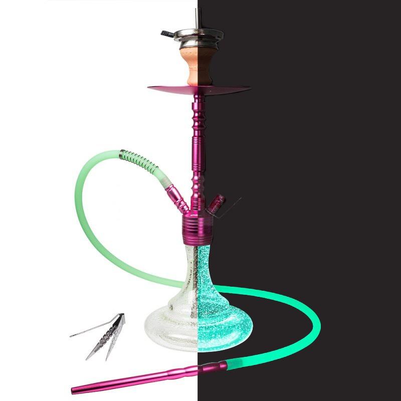 Кальян Smokah Jump розовая шахта/прозрачная колба(светится в темноте)