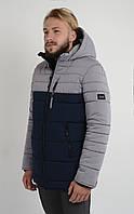 Куртка мужская зимняя Aziks м-072 темно-синяя с серым