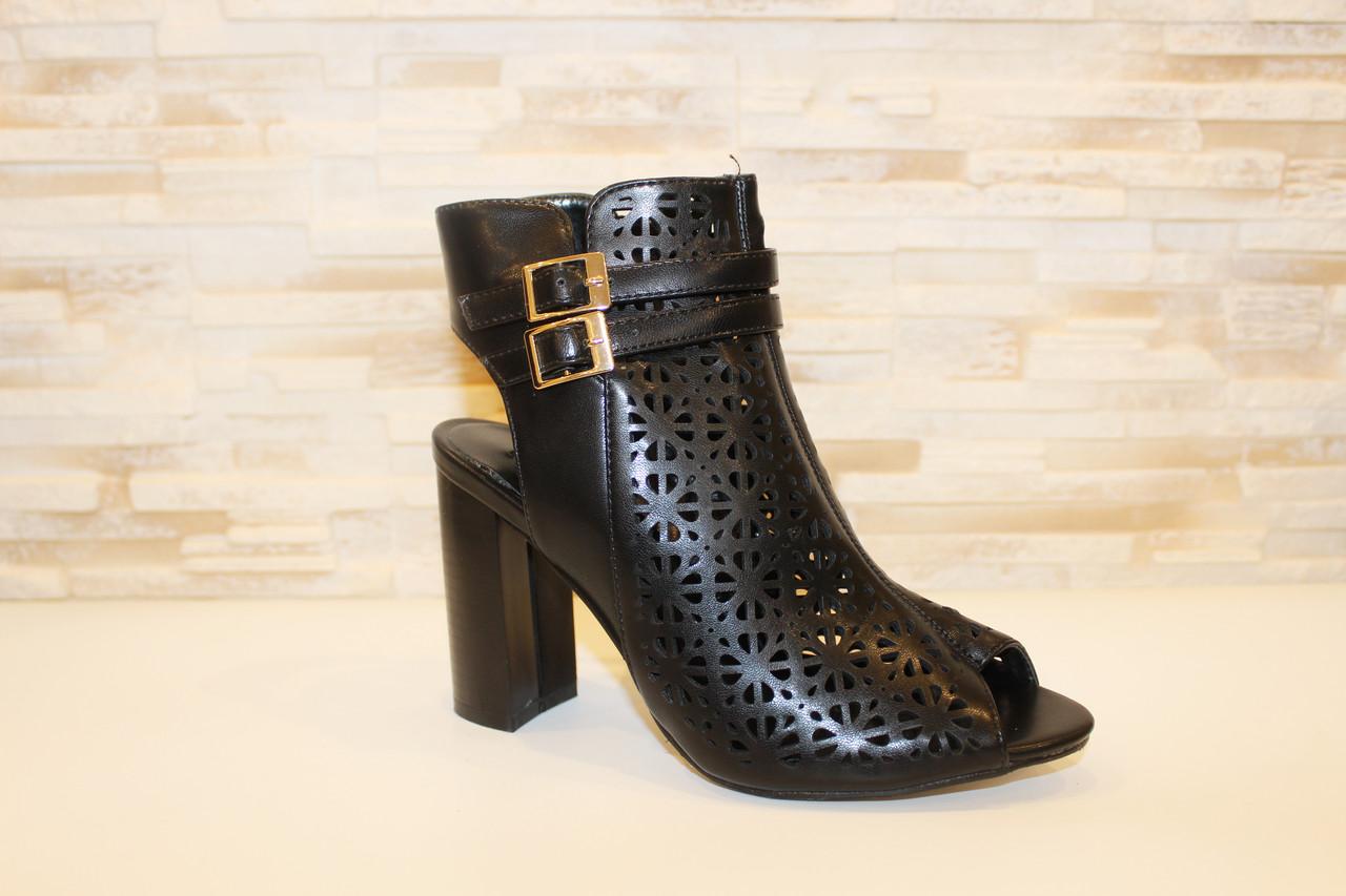 Босоножки женские черные на каблуке Б309