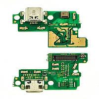 Разъём зарядки для HUAWEI P10 Lite (WAS-L21) на плате с микрофоном и компонентами