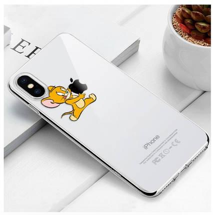 "Чехол TPU прозрачный, мягкий с изображением ""Джерри"" iPhone X, фото 2"