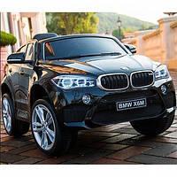 Детский электромобиль Джип BMW X6 199, РЕЗИНА, Кожа, дитячий електромобіль, чёрный