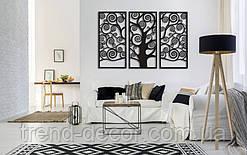 Декоративное металлическое три панно Дерево Жизни в рамке