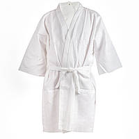 Вафельный халат Luxyart Кимоно Белый (LS-037)