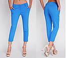 💠 Недорогие легкие элластичные брюки на лето зеленые. Есть батал, фото 2