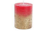 Свеча цилиндрическая 10 см амбре, цвет - рубиновый с золотом BonaDi C08_10_1-3.0.9.2