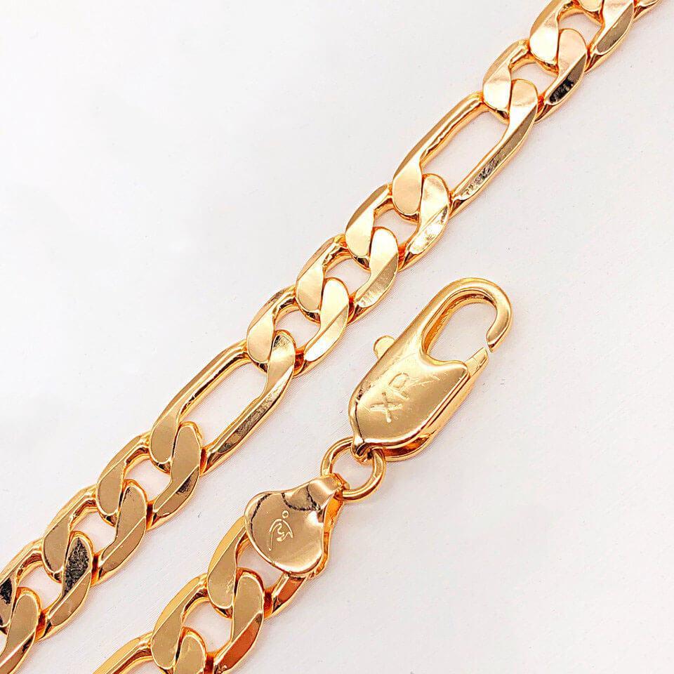 Браслет Xuping Jewelry 19,5 см х 9 мм Фигаро медицинское золото позолота 18К А/В 4-0045