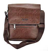 Мужская сумка из эко-кожи JEEP 866 BAGS | сумка через плечо Джип коричневая