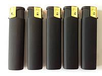 Зажигалки Черная резина  Огонёк, пьезо, хорошего качества упаковка 50 шт. ящик 20 упаковок (1000шт.)