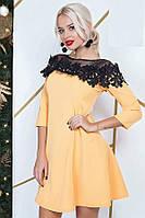 Платье женское с черным кружевом и сеткой, желтое