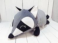 Мягкая игрушка подушка валик Strekoza Енот 60 см серый большой, фото 1