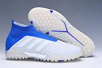 Футбольные сороконожки adidas Predator Tango 19+ TF Grey/White/Bold Blue, фото 1