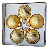 Комплект шаров с декором 6*5шт (3 гл., 2 мат.), стекло, золото (390304-9)