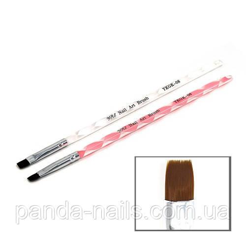 Кисть для геля витая ручка прямой ворс №8 , YKGK-08