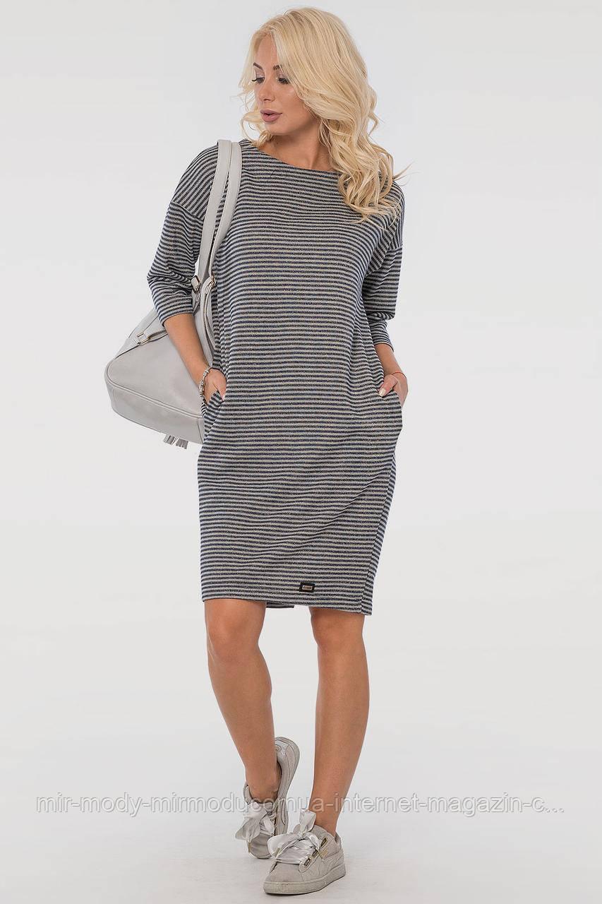 Повседневное платье мешок серого с синим двухнитка   с 44 по 52 размер  (влн)