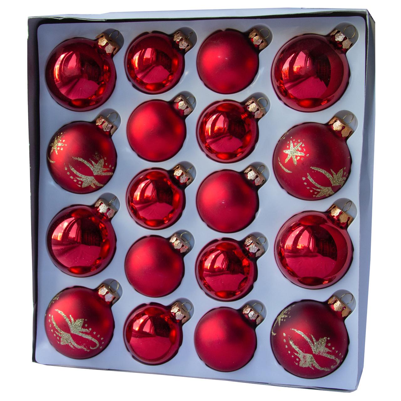 Набор елочных шаров, 18 шт., стекло, красный снежинки(390274-3)