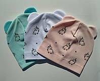 Трикотажные шапки на девочку осень весна 44-48 см Единорог, Бирюзовый