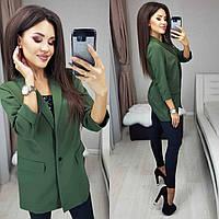 Женский удлиненный пиджак прямого фасона