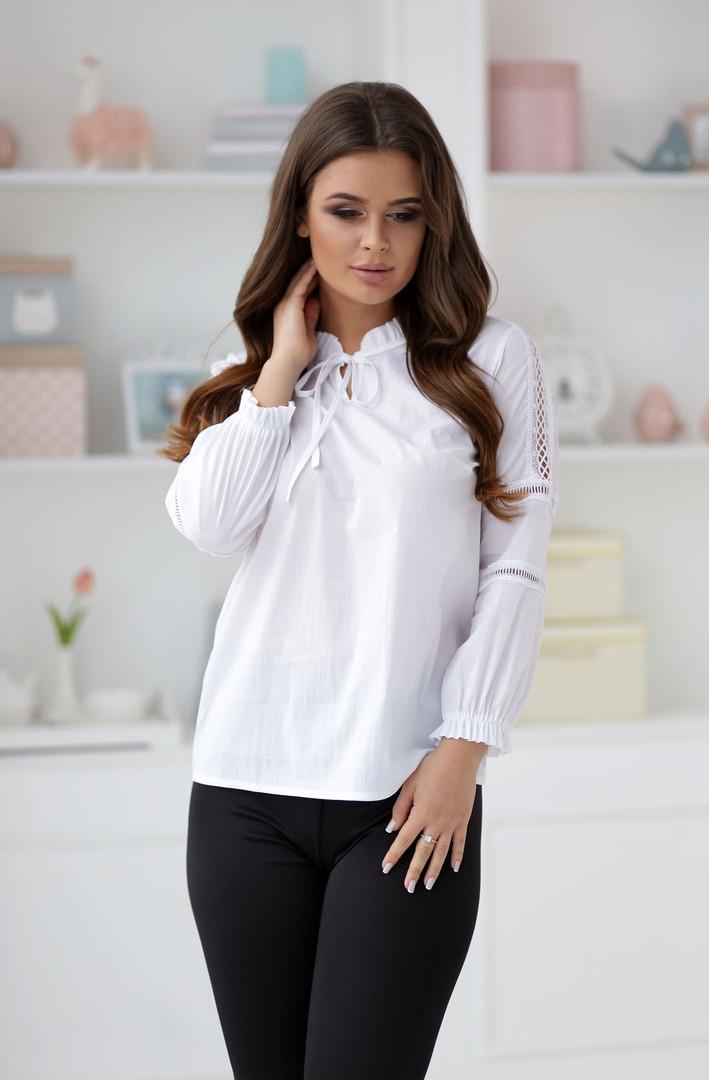 Элегантная белая женская блузка с рукавами.42,44,46р.