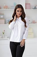 Элегантная белая женская блузка с рукавами.42,44,46р., фото 1
