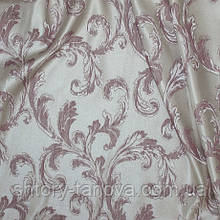 Ткань для штор завитки вязь беж-фрез