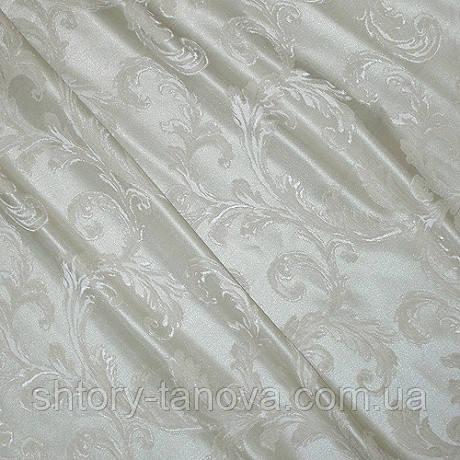 Ткань для штор завитки вязь беж-молоч.
