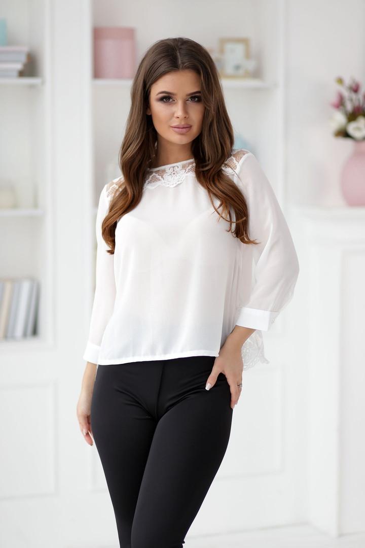 Элегантная белая женская блузка с кружевом на спине 42,44,46р.